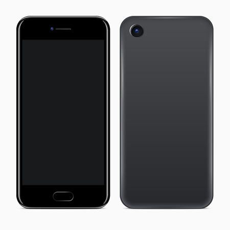 Mobile Phone. Vector realistic illustration of front and back sides of smartphone