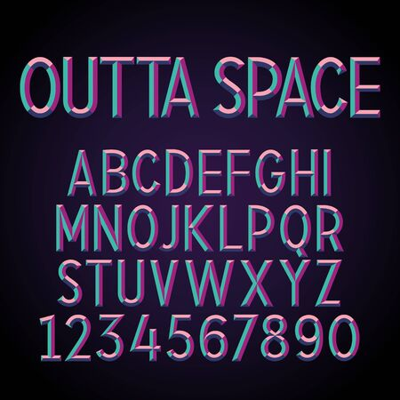 holographic: Embossed Stereo Font. Vector alphabet with 3D effect