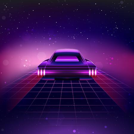 rave: 80s Retro Sci-Fi Background. Vector retro futuristic synth retro wave illustration in 1980s posters style
