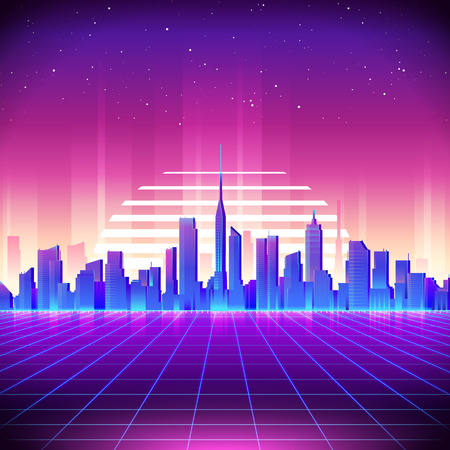 80s Retro Sci-Fi Background with Neon City. Vector retro futuristic synth retro wave illustration in 1980s posters style