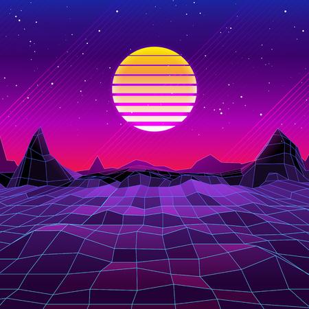 80s Retro Sci-Fi Background. Vector retro futuristic synth retro wave illustration in 1980s posters style