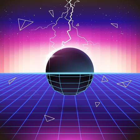 Retro sfondo Sci-Fi anni '80 con oggetti 3D. Vector la retro retro illustrazione dell'onda del sintetizzatore futuristico nello stile dei manifesti degli anni 80 Archivio Fotografico - 71440228