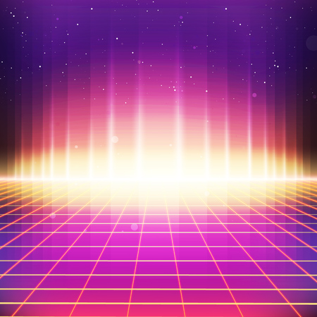80s Retro Sci-Fi Background. Vector retro futuristic synth retro wave illustration in 1980s posters style