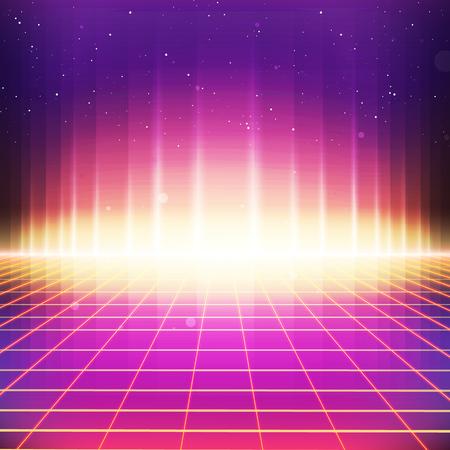 Fondo retro de la ciencia ficción 80s. Vector retro futurista sintetizador retro ilustración de la ola en los años 80 posters estilo Foto de archivo - 71440231