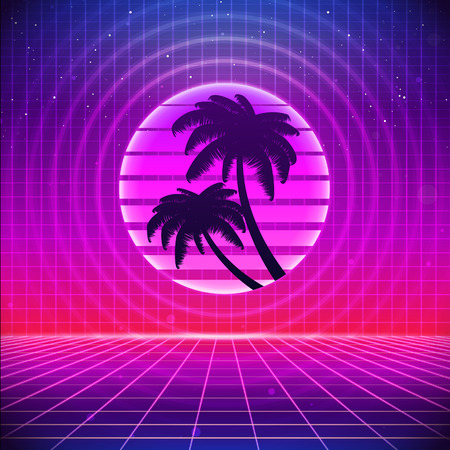 sci: 80s Retro Sci-Fi Background with Palms. Vector futuristic synth retro wave illustration in 1980s posters style. Suitable for any print design in 80s style.