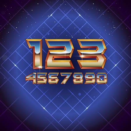 80s Retro Futuristic Numbers. Vector retro futuristic synth retro wave letters in 1980s posters style
