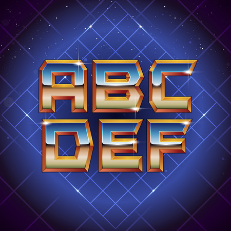 80s Retro Futuristic Font from A to F. Vector retro futuristic synth retro wave letters in 1980s posters style