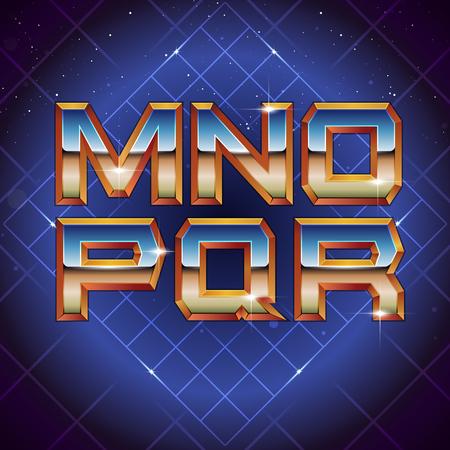 80s Retro Futuristic Font from M to R. Vector retro futuristic synth retro wave letters in 1980s posters style