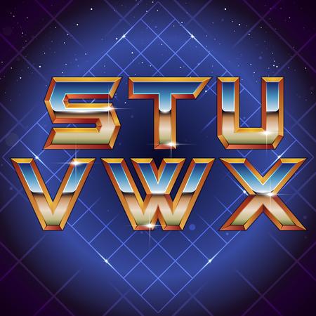 80s Retro Futuristic Font from S to X. Vector retro futuristic synth retro wave letters in 1980s posters style