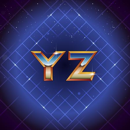 80s Retro Futuristic Font from Y to Z. Vector retro futuristic synth retro wave letters in 1980s posters style
