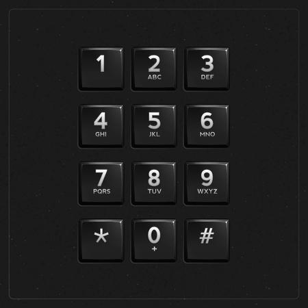Vector Plastic Keypad. Phone keypad buttons template Ilustrace