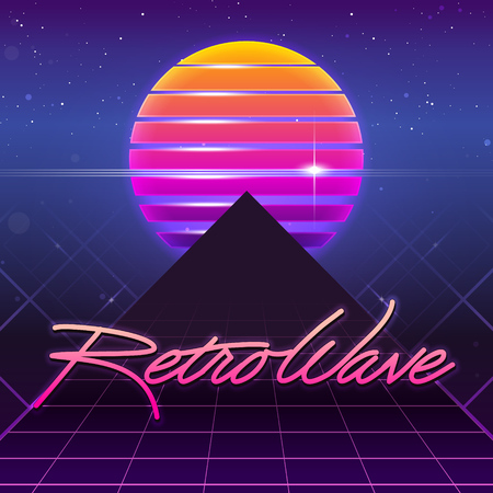 80s Retro Sci-Fi Background. Vector futuristic synth retro wave illustration in 1980s posters style. Suitable for any print design in 80s style 일러스트
