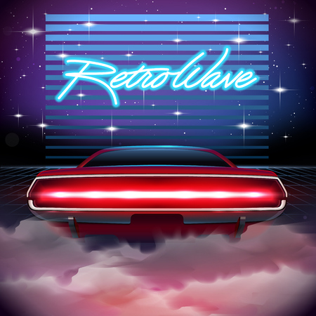 80s Retro Sci-Fi Background. Vector futuristic synth retro wave illustration in 1980s posters style. Suitable for any print design in 80s style Ilustrace