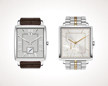 Set of classic and modern men's watches. Vector illustration of classic watches with different watch faces.