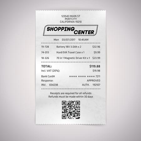 Realistic paper shop QR receipt. Vector cashier bill on white background. Illustration