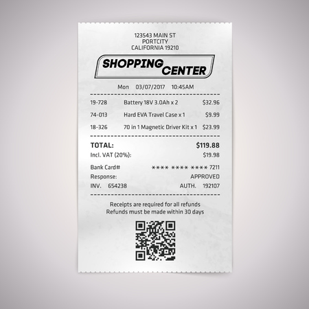 Realistic paper shop QR receipt. Vector cashier bill on white background. Vettoriali