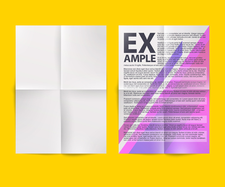 Blank white folded paper sheet. Vector A4 format document mock-up illustration.