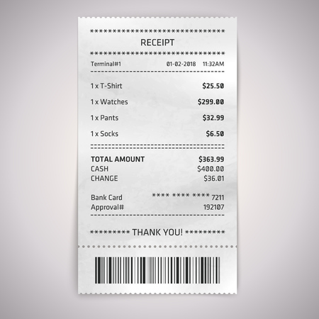 Realistic paper shop receipt with bar code. Vector shop terminal or atm bill on white background.