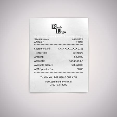 Realistic paper ATM receipt. Vector atm bill on white background.