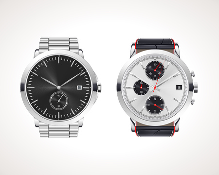 Set of classic and modern mens watches. Vector illustration of classic watches with different watch faces. Illustration