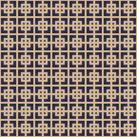Retro Pattern with Golden Squares. Vector seamless outline background Stock Illustratie