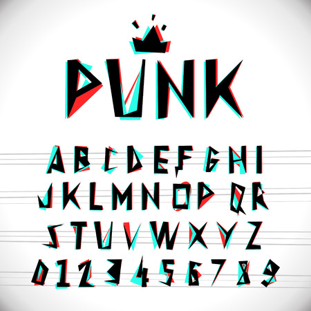 Font with glitched stereo effect. Vector distorted alphabet. Stock Illustratie