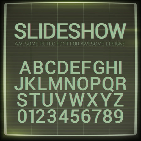 Retro font with blur effect. Vector distorted retro slide projector screen tiltle alphabet. Ilustração
