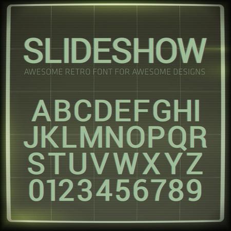 Retro font with blur effect. Vector distorted retro slide projector screen tiltle alphabet. Illustration