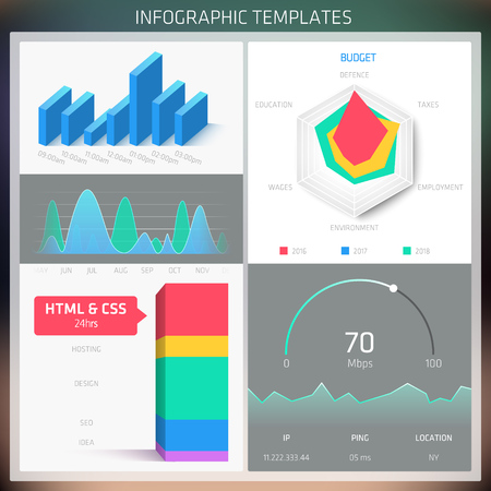 Vector Infographic design templates. Set of charts and elements for statistic, diagram, workflow, timeline and options. Suitable for brochure, annual report, presentation, web and application design.