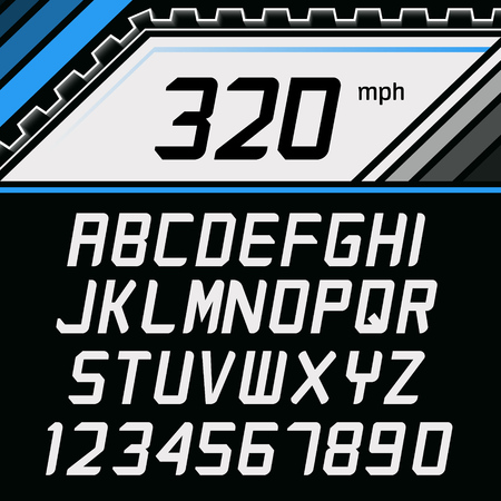 Vector Font in supercar gauge cluster style. Racing Alphabet on car gauge background