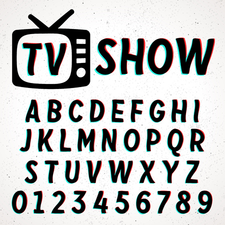 Font with glitch and 3D effect. Vector distorted retro CRT screen alphabet. Stock Illustratie