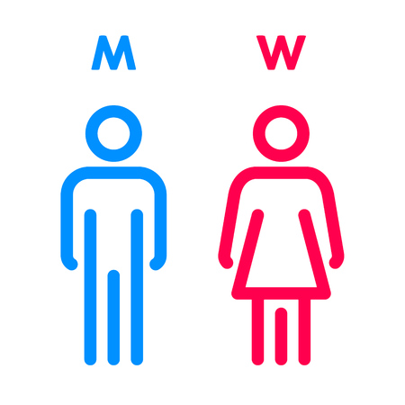 Toilet Indicating Sign. Vector Men and Women WC directional signs. Restroom icon.
