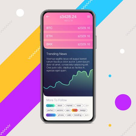 Vector Crypto Currency Wallet UI design. Trendy flat elements for mobile apps Illustration