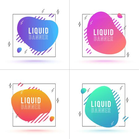 Vector Modern Abstract Liquid Banners. Flat flowing gradient shapes. Template with modern style dynamic elements
