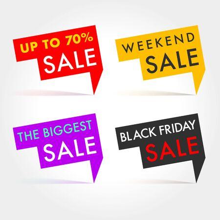 Etichette vettoriali di vendita stagionale. Tag invernali, primaverili, estivi e autunnali Fino a, Weekend, Biggest e Black Fridat Sale tag Vettoriali
