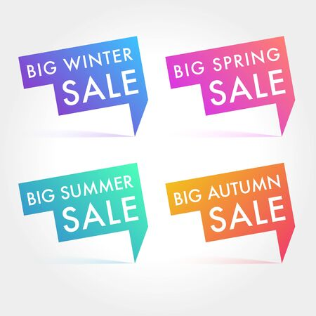 Seasonal Sale Vector labels. Winter, Spring, Summer and Autumn tags Ilustrace