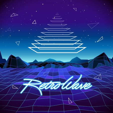 80s Retro Sci-Fi Background with Pyramid and Mountains. Vector futuristic synth retro wave illustration in 1980s posters style. Suitable for any print design in 80s style