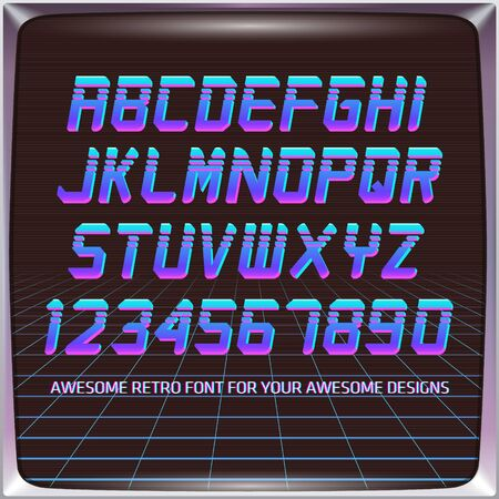 Virtual Reality Retro Futuristic Font. Stylish Retro Synth Wave Alphabet in 80s style. Vector font on laser grid background Ilustracja