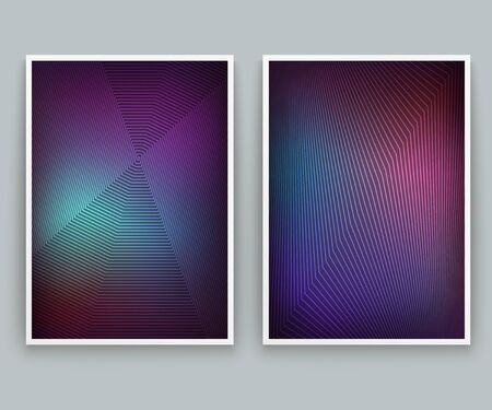 Vivid Geometric Backgrounds. Set of vector colorful posters. Fluid background with lines. Template with modern style dynamic elements Ilustracja