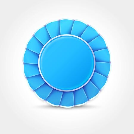 Blue Award Badge made of ribbon. Realistic vector Icon