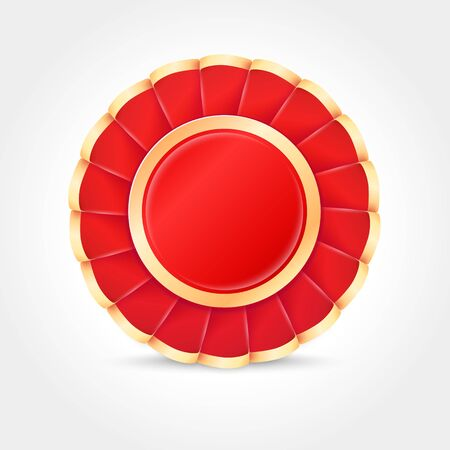 Red and Gold Award Badge made of ribbon. Realistic vector Icon Ilustracja