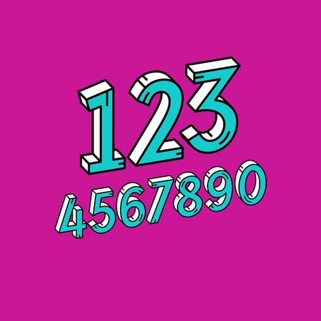 Vector Retro 3D Font. Colorful Vintage Numbers