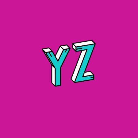 Vector Retro 3D Font. Colorful Vintage Alphabet from Y to Z