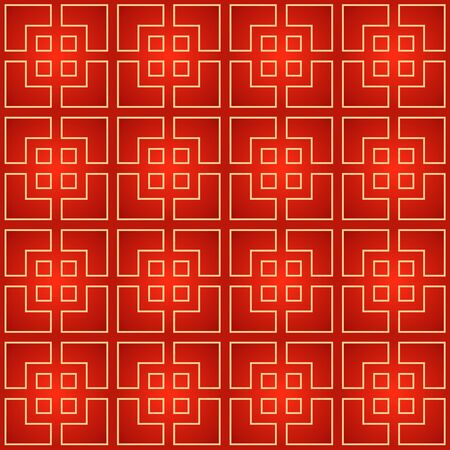 Traditional Asian Geometric Background. Oriental ornament with lines and shapes. Vector Chinese red and gold seamless pattern