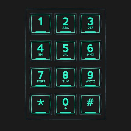 Futuristic Phone Keypad for Touchscreens. Vector User Interface