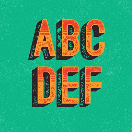 Hand Made Letterpressed Font in retro style. Vintage textured grunge alphabet with scratches. Vector illustration Ilustracja