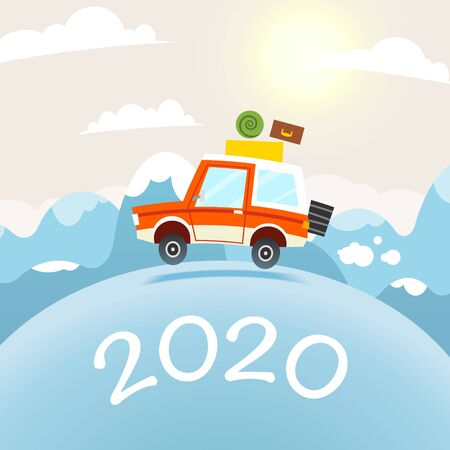 2020 Happy New Year Post card design. Mountain Travel Illustration. Vector flat cartoon car and winter landscape