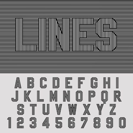 Stylish font made of lines. Vector line alphabet