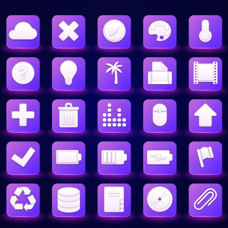 25 White 3D Icons on Gradient Background. Vector Office Icons for Web and Application design