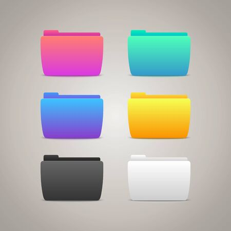 Vector Gradient Folders Icons for web and mobile design